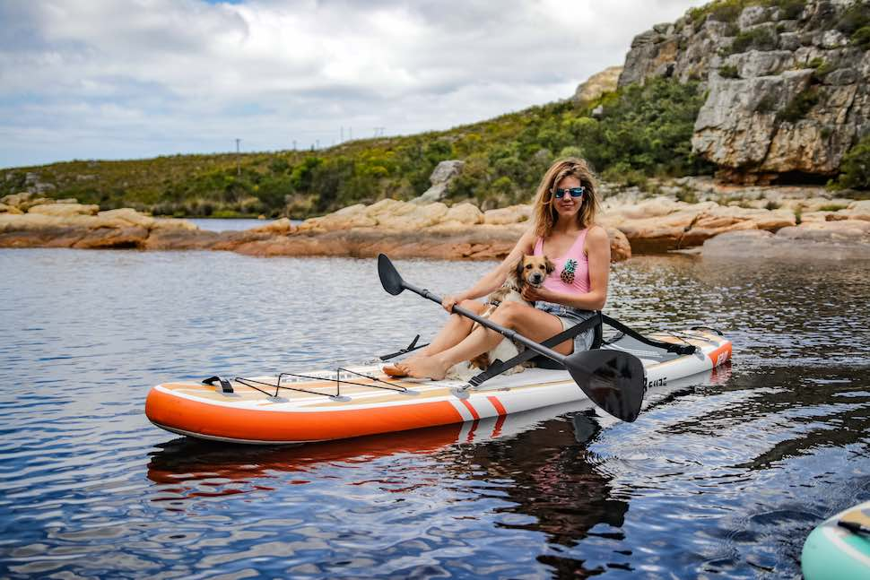 best women's paddle board with adaptable kayak, the Thurso Surf waterwalker all-around SUP with added kayak seat
