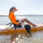 thurso surf waterwalker 126 SUP 2021 tangerine woman kayaking