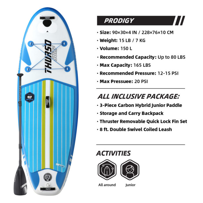 thurso surf prodigy 90 stand up paddle board parameters Azure