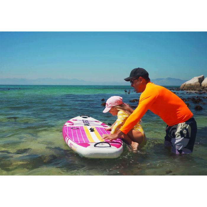 thurso surf prodigy magenta paddle board get on
