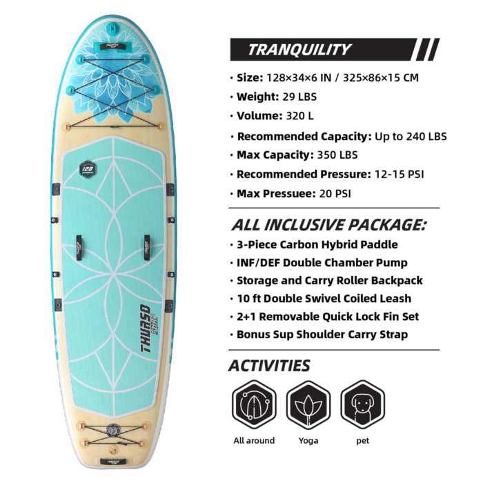 thurso surf tranquility 128 stand up paddle board parameters