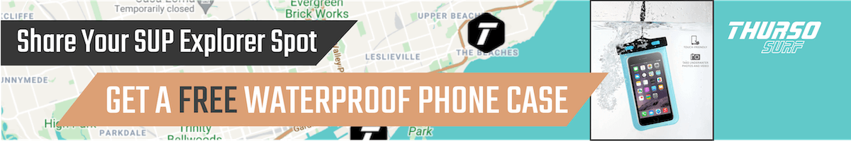 Announcement that you can get a FREE Waterproof Phone Case by Sharing Your SUP Explorer Spot