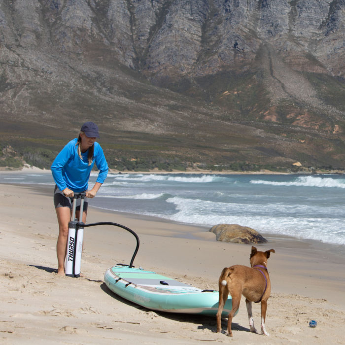 thurso surf waterwalker 120 2021 turquoise woman inflating paddle board