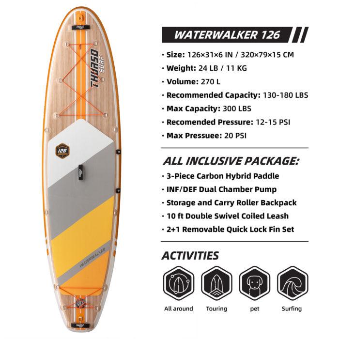 thurso surf waterwalker 126 stand up paddle board parameters tangerine