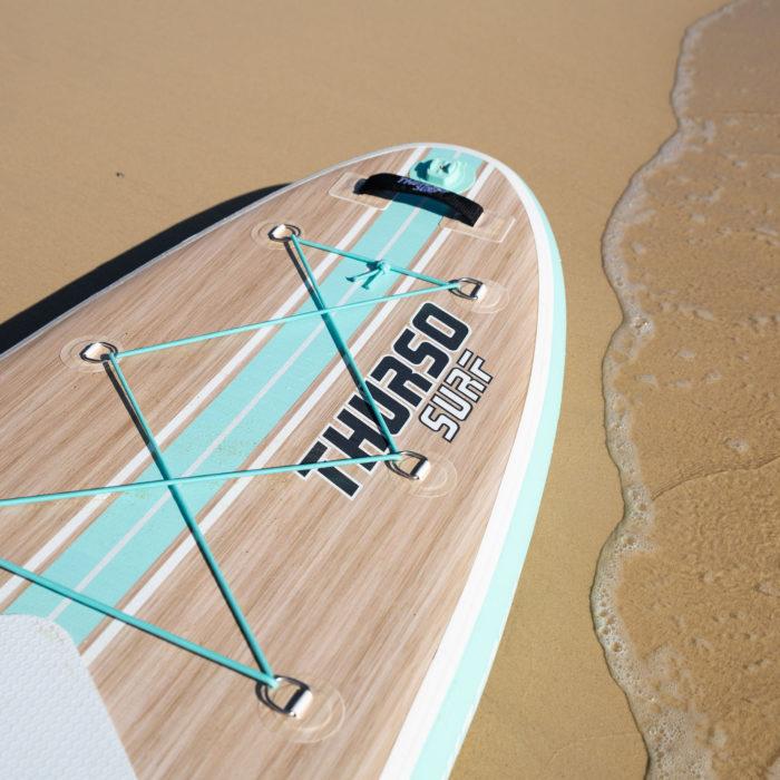 thurso surf waterwalker 132 SUP 2021 turquoise logo wood grain feature